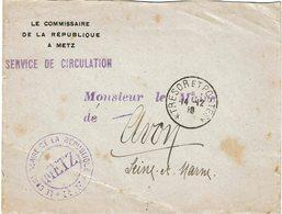 CTN60/1 -  LETTRE DE SERVICE COMMISSAIRE DE LA REPUBLIQUE METZ / AVON 14/12/1918 - Guerre Mondiale (Première)