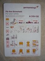 Avion / Airplane / GERMANWINGS / Airbus A319-132 / Safety Card / Consignes De Sécurité - Scheda Di Sicurezza