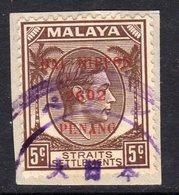 Malaya Japanese Occupation Penang 1942 5c Brown On Straits, DAI NIPPON/2602, Used On Piece, SG J80 - Japanese Occupation