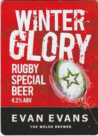 EVAN EVANS BREWERY (LLANDEILO, WALES) - WINTER GLORY RUGBY SPECIAL BEER - PUMP CLIP FRONT - Uithangborden