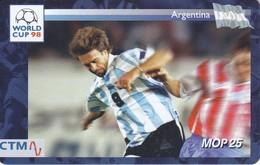 TARJETA CON CHIP DE MACAO DE WORLD CUP 98 - ARGENTINA (CTM) FUTBOL-FOOTBALL) - Macau