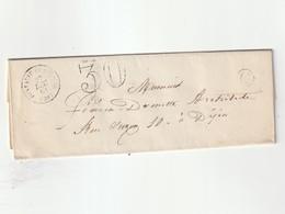 1861 Enveloppe Avec Cachet Type 15 De Fontaine Française(20),cachet Taxe 30,cachet De Facteur C (lot 954) - 1849-1876: Période Classique