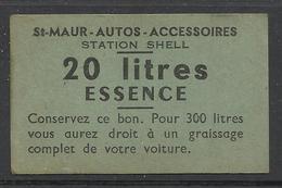 Ticket 20 Litres ESSENCE , STATION SHELL , 25 Bis Rue De La Varenne , SAINT MAUR ( Seine ) - Documentos Históricos