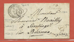 FRANCE LETTRE DE 1833 DE  BRUNOY POUR SAINT SYMPHORIEN DE LAY - Autres