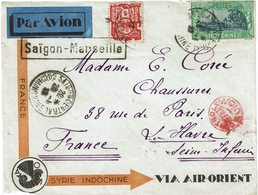 CTN60/1 -  DEVANT DE LETRE SAIGON/MARSEILLE 28/1/1933 VIA AIR ORIENT CACHET CONTRÔLE AVION - Marcofilie (Brieven)