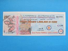 BIGLIETTO LOTTERIA MONZA INFIORATA NOTO FOLIGNO GIRO DELL'OSSOLA 2002 - COMPLETO DI MATRICE FDS - Billets De Loterie
