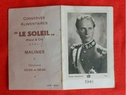 Calendrier De Poche 1941/ Malines/ Conserves Alimentaires/ Léopold III - Calendarios