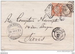 L4A084 France Aff.  Composé  70c 40c Orange N° 38 + 30c Brun N° 56/Lettre Marseille   Pour Paris 29-12-1875 - 1849-1876: Période Classique