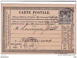 L4A113 France   Sage 15c Gris N° 77 /  CP Marseille Pour Chateauroux  20 03 1878 - Cartes Précurseurs