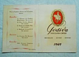 Calendrier De Poche/publicité/ 1949/ Chocolatier Godiva/ Bxl, Anvers, Knocke - Calendriers