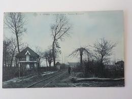 Ancien CP Bleutée Ypres Ieper Ligne Du Vicinal Pavillon Moncarré N° 6 - Ieper