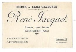 SAINT FLORENT SUR CHER (18) Carte De Visite Bières Eaux Gazeuses René Jacquet - Saint-Florent-sur-Cher