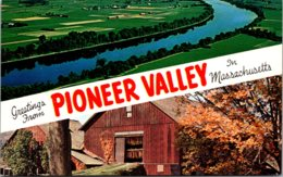Masachusetts Greetings From Pioneer Valley Showing Tobacco Barn & Connecticut River - Nantucket