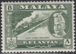 Malaya Kelantan 1957-63 MH Sc 76 8c East Coast Railway, Sultan Ibrahim - Kelantan