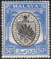 Malaya Negri Sembilan 1949-55 MH Sc 55 50c Coat Of Arms - Negri Sembilan