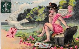 CARTE GAUFREE TRES BELLE FANTAISIE PETIT ANGE FACTEUR ,ET LA COLOMBE DISTRIBUTRICE  REF 64680 - Postal Services