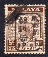 Malaya Japanese Occupation 1942 5c Violet Chop Overprint On Negri Sembilan, Used, SG J164d - Japanse Bezetting