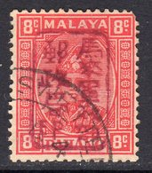 Malaya Japanese Occupation 1942 8c Red Chop Overprint On Pahang, Used, SG J180a - Japanese Occupation