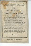 Joanna De Keyzer Huisvrouw Van Hindryk Van Walleghem O Torhout  22-03-1763  + 4-12-1840 - Andachtsbilder