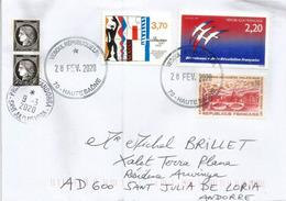 Belle Lettre De VESOUL, 2020, Adressée Andorra  (Le Corbusier, Grenoble,etc) Avec Timbre à Date Arrivée - France