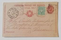 Cartolina Postale Con Risposta (cent.15+5) Viareggio-Firenze - 19/06/1901 - Interi Postali