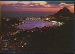 °°° 19982 - BRASIL - RIO DE JANEIRO - VISTA NOTURNA , LAGOA RODRIGO DE FREITAS - 1985 With Stamps °°° - Rio De Janeiro
