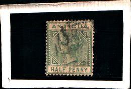 93746)  Antigua 1882 Effige Della Regina Vittoria- 1/2 P-verde N.10.usato - 1858-1960 Colonia Britannica