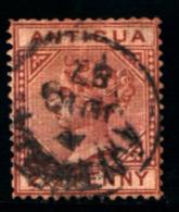 93747)  Antigua 1882 Effige Della Regina Vittoria- 2.1/2 P-bruno Rosso N.11.usato - 1858-1960 Colonia Britannica