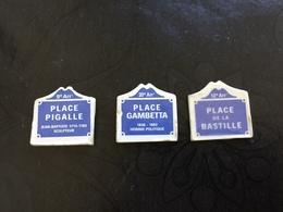 3 Feves Plaque De Rue Moulin à Huile Place De Paris PIGALLE GAMBETTA BASTILLE Voir Photos - Oude