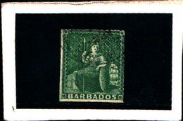 93751 ) BARBADOS 1857 FIGURA ALLEGORICA CARTA BIANCA 1/2 P. VERDE USATO - Barbados (...-1966)