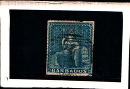 93752 ) BARBADOS 1857 FIGURA ALLEGORICA CARTA BIANCA 1 P. AZZURRO USATO - Barbados (...-1966)