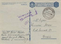 Italien Postkarte Feldpost Zensur 1940-45 Tekst Musolini - 1900-44 Vittorio Emanuele III