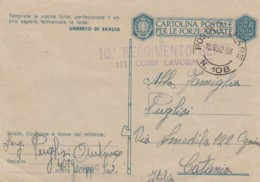 Italien Postkarte Feldpost Zensur 1940-45 Tekst Umberto Di Savoia - 1900-44 Victor Emmanuel III