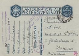 Italien Postkarte Feldpost Zensur 1940-45 - 1900-44 Victor Emmanuel III