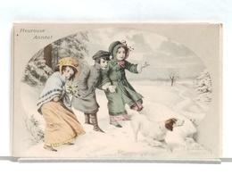 ILLUSTRATION M.M. VIENNE Nr 477- M. MUNK - HEUREUX ANNÉE - ENFANTS CHIEN DANS LA NEIGE - 1909 - Vienne