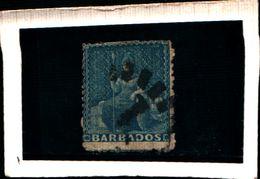 93754 ) BARBADOS 1871-73-FIGURA ALLEGORICA 1 P. AZZURRO USATO - Barbados (...-1966)