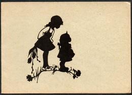 D4497 - Glückwunschkarte - Scherenschnitt - Kinder - Klappkarte - Scherenschnitt - Silhouette