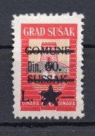 1940s CROATIA, SUSAK, 60 DIN. MUNICIPALITY REVENUE STAMPS, OVERPRINT, RED - 1945-1992 Socialistische Federale Republiek Joegoslavië
