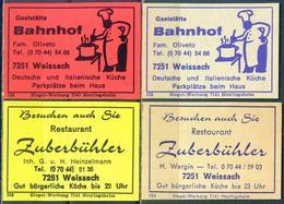 4 Alte Gasthausetiketten Sortiert Nach Ort: Weissach Und Alte Postleitzahl: 7251 - Boites D'allumettes - Etiquettes