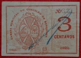 Portugal - Cedula De 3 Centavos /  Camara Municipal Da Barquinha   / Distrito De Santarem - Portugal