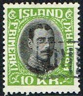 1931. King Christian X. Close, Unbroken Lines In Oval Frame. 10 Kr. Green/black TOLLU... (Michel 167) - JF166554 - Gebraucht