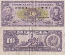 Venezuela / 10 Bolivares / 1988 / P-62(a) / VF - Venezuela
