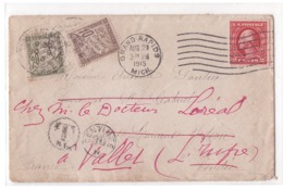 AMERIQUE - USA Lettre Insuffisamment  Affranchie Taxée 10c/ 20c - Grand Rapids Pour Vallet - Obliteration Du 20/08/1915 - United States