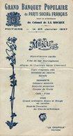 GRAND BANQUET DU PARTI SOCIAL FRANCAIS DE 1937 - Menus