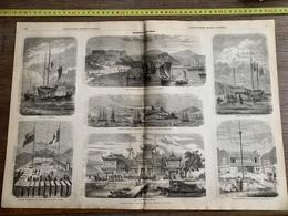 1860 ILL GRAVURE EXPEDITION DE CHINE PORT SHANG HAI SHANGHAI CHUSAN DOUANE JONQUE DE GUERRE - Collections