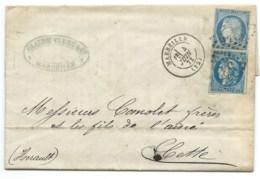 N° 60 BLEU CERES SUR LETTRE / MARSEILLE POUR CETTE / 1872 / N° 46 RAJOUTE A POSTERIORI GC 532! - 1849-1876: Classic Period