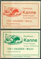 2 Alte Gasthausetiketten Sortiert Nach Ort: Hausen Bei Weil Der Stadt Und Alte Postleitzahl: 7251 - Boites D'allumettes - Etiquettes
