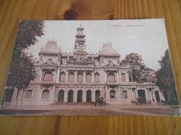 CANTON  TIMBRE SURCHARGE 4 CENTS JANVIER 1924 DEPART SAIGON COCHINCHINE RECTO HOTEL DE VILLE SAÏGON - Briefe U. Dokumente