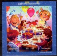 2017 Austria Comics Puzzle MS Birthday Party S.adhesive Odd Shape Stamps MNH** Mi B 93 Cake, Food, Dog, - 1945-.... 2nd Republic
