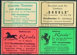 4 Alte Gasthausetiketten Sortiert Nach Ort: Hirschlanden Und Alte Postleitzahl: 7251 - Boites D'allumettes - Etiquettes